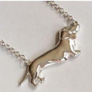 "Silver Dachshund Doxie Necklace Crystal Dog 16-18"""